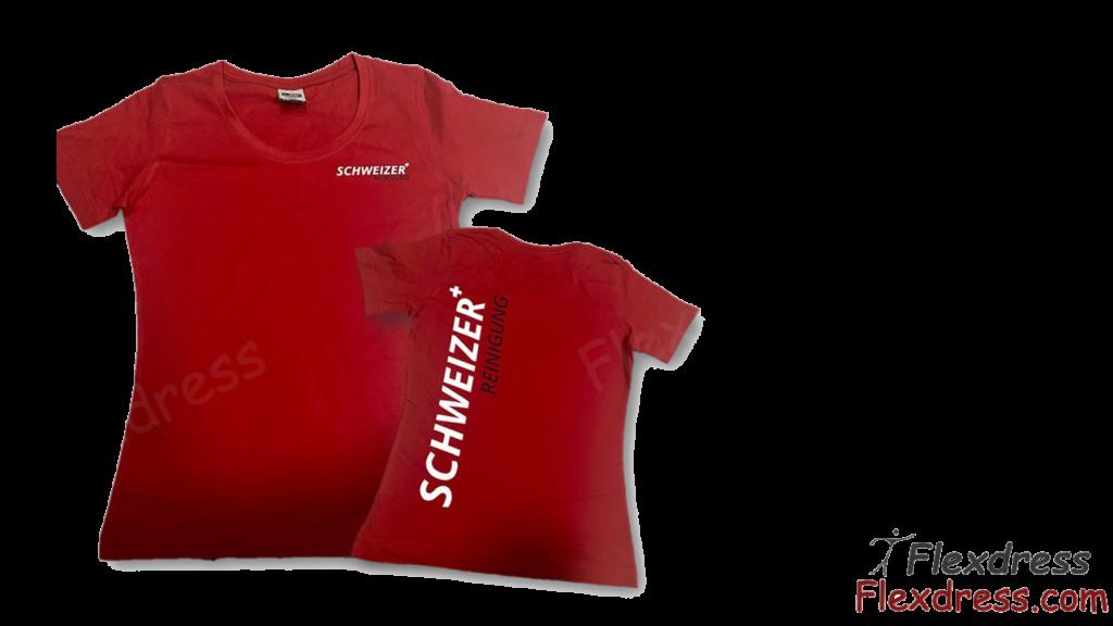 Shirts mit Firmenaufdruck und Logo Stickerei für die Schweizer Reinigung und Hauswartung - Firmenbekleidung Arbeitskleidung von Flexdress Textilshop Schweiz